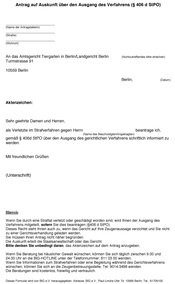 Antrag Auf Verlustfeststellung : antrag auf auskunft ber den ausgang des verfahrens big e v ~ Lizthompson.info Haus und Dekorationen